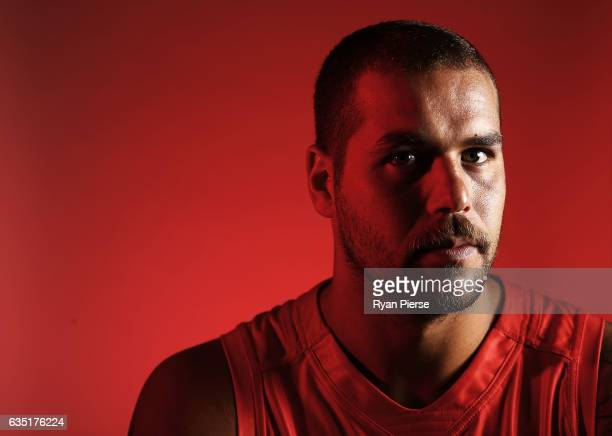 of Lance Franklin of the Swans poses during a portrait session at the SCG on February 14 2017 in Sydney Australia