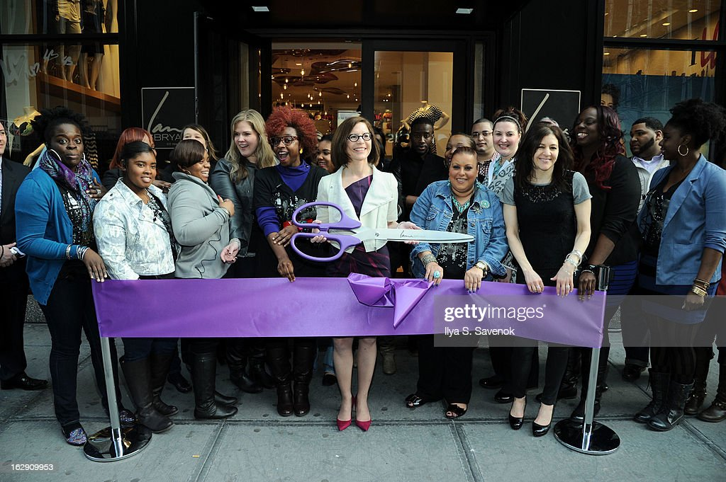 CEO of Lane Bryant Linda Heasley (C) attends the Lane Bryant 34th Street Flagship Store Opening & Ribbon Cutting on March 1, 2013 in New York City.