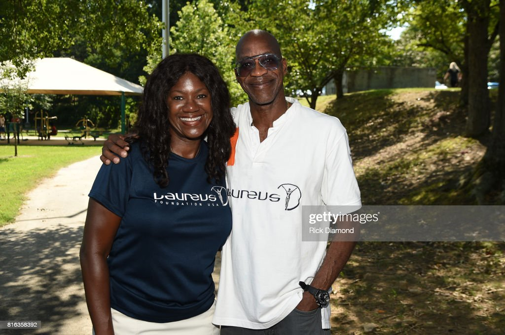 CEO of Laureus Sport for Good USA, US Olympian Benita Fitzgerald Mosley and Chairmen of Laureus Sport for Good Foundation, US Olympian Edwin Moses attends 'Nickelodeon's Worldwide Day Of Play And Laureus Sport For Good In Atlanta' at Washington Park on July 17, 2017 in Atlanta, Georgia.