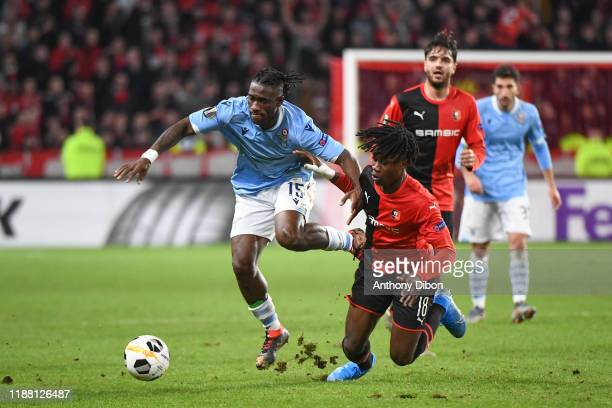 BASTOS of Lazio and Edouardo CAMAVINGA of Rennes during the Europa League match between Rennes and Lazio Rome at Roazhon Park on December 12 2019 in...