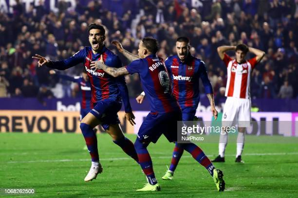 of Levante UD celebrate after scoring the 10 goal with his teammate during spanish La Liga match between Levante UD vs Athletic club de Bilbao at...