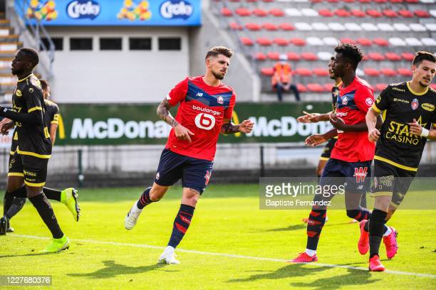 XEKA of Lille celebrate his goal during the Friendly match between Lyon and Mouscron on July 18 2020 in Mouscron Belgium