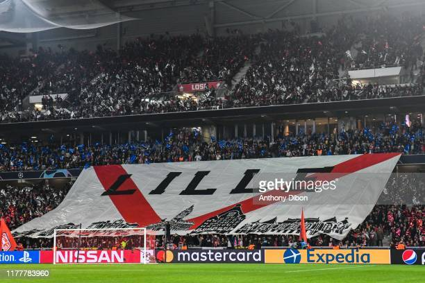 FANS of Lille during the UEFA Champions League Group H match between Lille and Valencia on October 23 2019 in Lille France