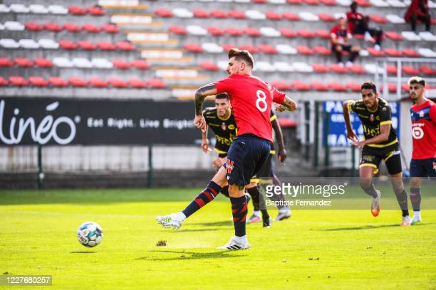 XEKA of Lille score his goal during the Friendly match between Lyon and Mouscron on July 18 2020 in Mouscron Belgium