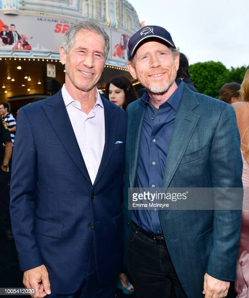 Of Lionsgate Jon Feltheimer and Ron Howard attend the premiere of Lionsgate's 'The Spy Who Dumped Me' at Fox Village Theater on July 25, 2018 in Los...