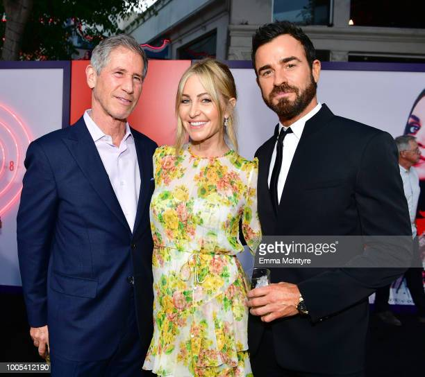 CEO of Lionsgate Jon Feltheimer Laurie Demarest and Justin Theroux attend the premiere of Lionsgate's 'The Spy Who Dumped Me' at Fox Village Theater...