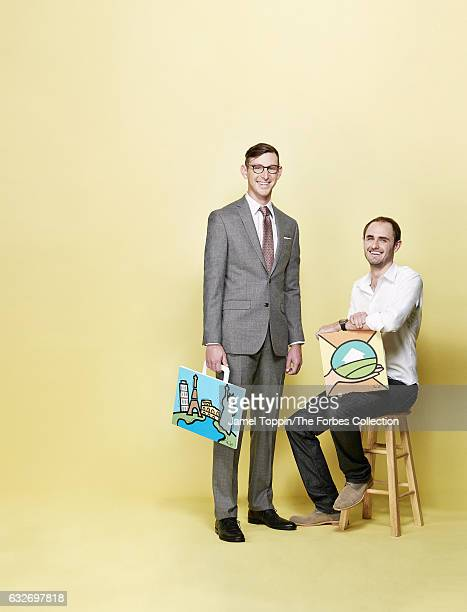 CEO of Lonely Planet Daniel Houghton and cofounder of LendingHome Matthew Humphrey are photographed for Forbes Magazine on December 7 2016 in New...