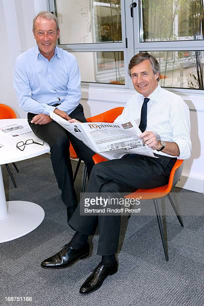 CEO of L'Opinion Christophe Chenut and President of L'Opinion Nicolas Beytout attend 'L'Opinion' Newspaper Launch Party on May 14 2013 in Paris France