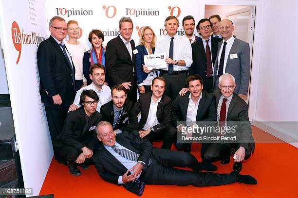 CEO of L'Opinion Christophe Chenut President of L'Opinion Nicolas Beytout and journalists attend 'L'Opinion' Newspaper Launch Party on May 14 2013 in...