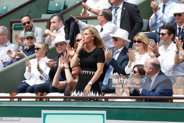 CEO of Louis Vuitton Michael Burke his wife Brigitte Burke Arantxa Sanchez Vicario Mayor of Paris Anne Hidalgo and President of French Tennis...