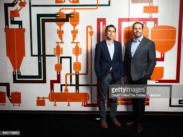 CEO of Loxo Oncology Josh Bilenker and chief business officer of Loxo Oncology Jacob Van Naarden are photographed for Forbes Magazine on October 26...