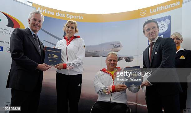CEO of Lufthansa Christoph Franz track and field athlet Michaela Floeth weigthlifter Mario Hochberg vice president of Deutsche Sporthilfe Michael...