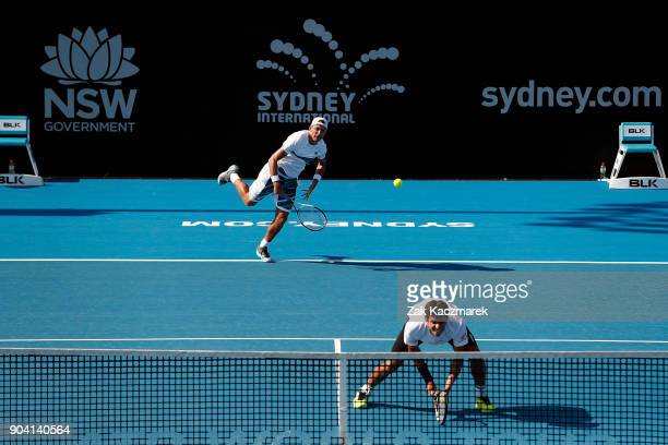 of Lukasz Kubot of Poland and Marcelo Melo of Brazil in action in their Men's Doubles Final match against JanLennard Struff of Germany and Viktor...