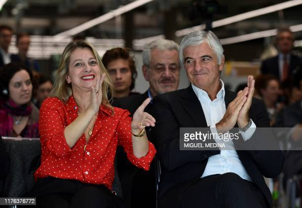 CEO of luxury leather goods maker Celine Severine Merle and LVMH group managing director Antonio Belloni attend the inauguration of La Manufacture...