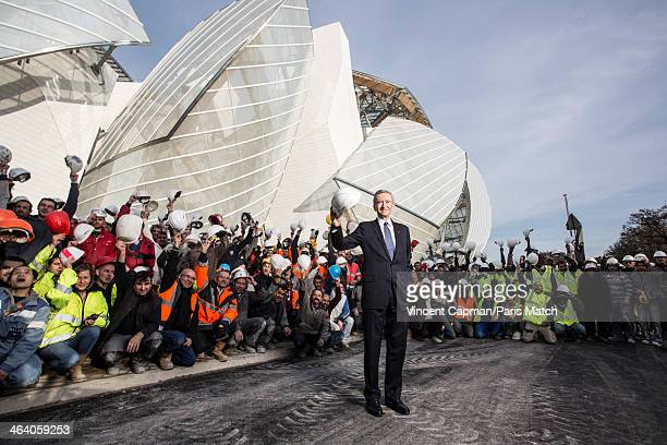 CEO of LVMH Bernard Arnault is photographed on site of the newly built Louis Vuitton Foundation of modern art designed by architect Frank Gehry for...