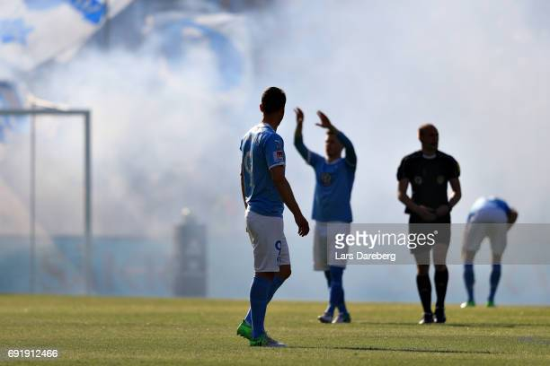 of Malmo FF during the Allsvenskan match between Jonkopings Sodra IF and Malmo FF at Stadsparksvallen on June 3 2017 in Jonkoping Sweden