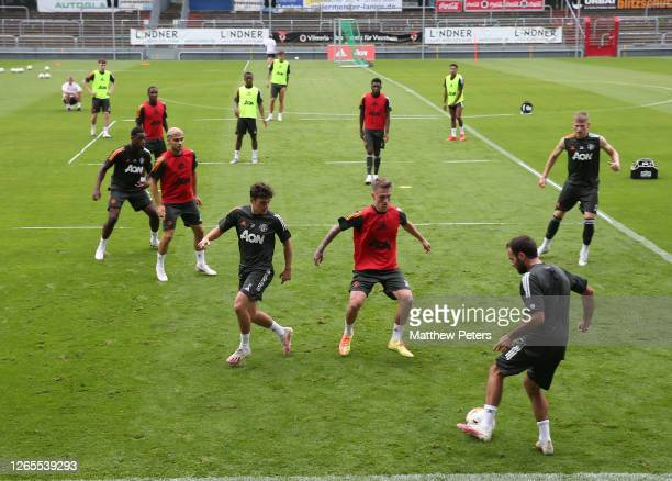 of Manchester United in action during a first team training session at Sportpark Hoehenberg on August 11 2020 in Cologne Germany