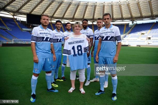 CEO of Marathonbet Natalia Zavodnik and SS Lazio head coach Simone Inzaghi attends SS Lazio unveils new sponsor Marathonbet at Olimpico Stadium on...