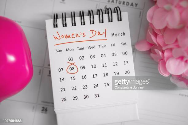 8 of march international women's day. close up of calendar. - international womens day stock pictures, royalty-free photos & images