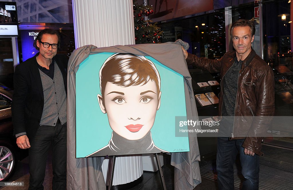 CEO of Marco Polo Andreas Baumgaertner and actor Hannes Jaenicke attend the BMW Adventskalender opening with Hannes Jaenicke at the BMW Pavillion on December 13, 2012 in Munich, Germany.