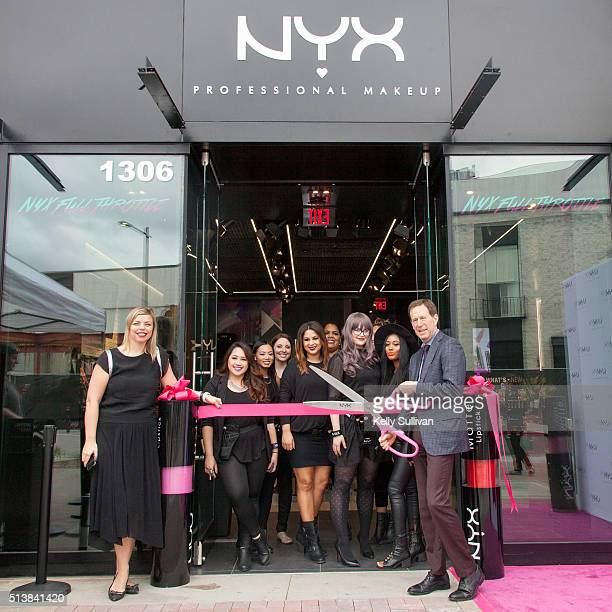 SVP of Marketing and Global Business Development Nathalie Kristo joins NYX CEO Scott Friedman as he cuts the ribbon opening the NYX Broadway Plaza...