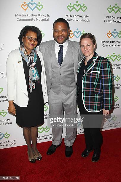 CEO of Martin Luther King Jr Community Hospital Dr Elaine Batchlor actor Anthony Anderson and screenwriter Chris Nee attend the MLK Community Health...