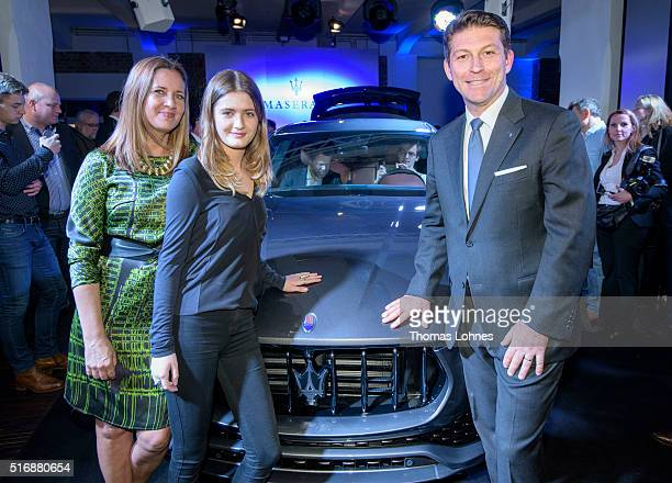 CEO of Maserati Europa Giulio Pastore Dana Schweiger and her daughter Lilly pictured with the new Maserati Levante at 'Klassikstadt' on March 21 2016...