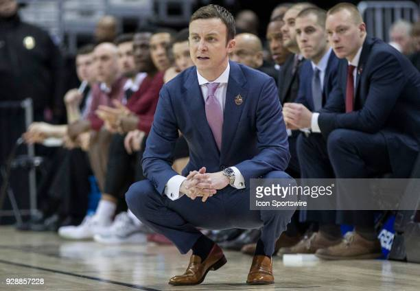 U of Mass coach Matt McCall on the sidelines during a first round game of the 2018 Atlantic 10 men's basketball championship between the La Salle...