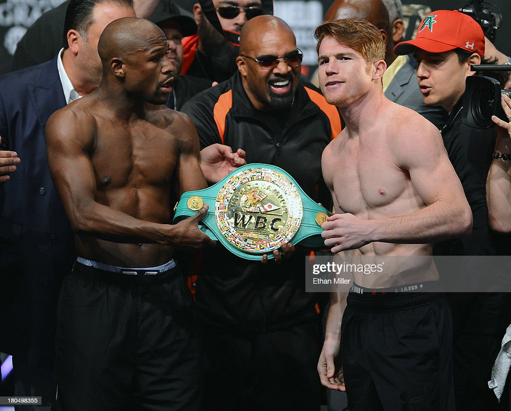 floyd mayweather jr v canelo alvarez weigh in photos and images