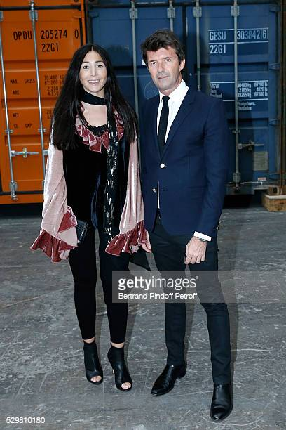 CEO of Mazarine Group PaulEmmanuel Reiffers and his wife Margaux attend the Huang Yong Ping Monumenta 2016 Exhibition opening at Le Grand Palais on...