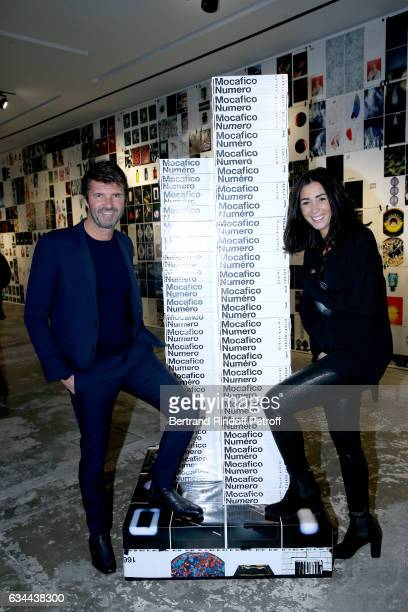 CEO of Mazarine Group PaulEmmanuel Reiffers and his wife Margaux attend the Launching of the Book Mocafico Numero at Studio des Acacias on February 9...