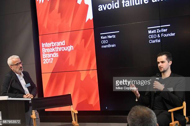 CEO of memBrain Ken Hertz and founder and CEO at Clarifai Matt Zeiler speak during Interbrand Breakthrough Brands 2017 on May 24 2017 in New York City
