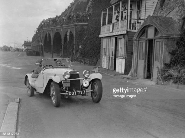 HRG of MH Lawson competing in the RAC Rally Madeira Drive Brighton 1939 Artist Bill Brunell HRG Standard Meadowsengined 2seater 1938 1496 cc Reg No...