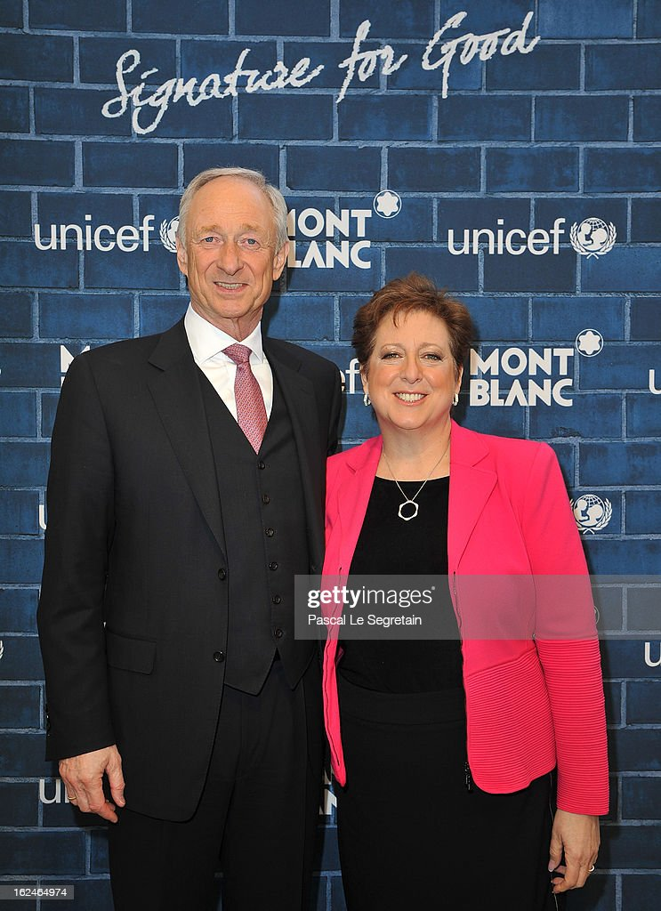 CEO of Montblanc International Lutz Bethge and U.S. Fund for UNICEF President and CEO Caryl M. Stern wearing Montblanc Star 4810 necklace and earrings attend a Pre-Oscar charity brunch hosted by Montblanc and UNICEF to celebrate the launch of their new 'Signature For Good 2013' Initiative with special guest Hilary Swank at Hotel Bel-Air on February 23, 2013 in Los Angeles, California.