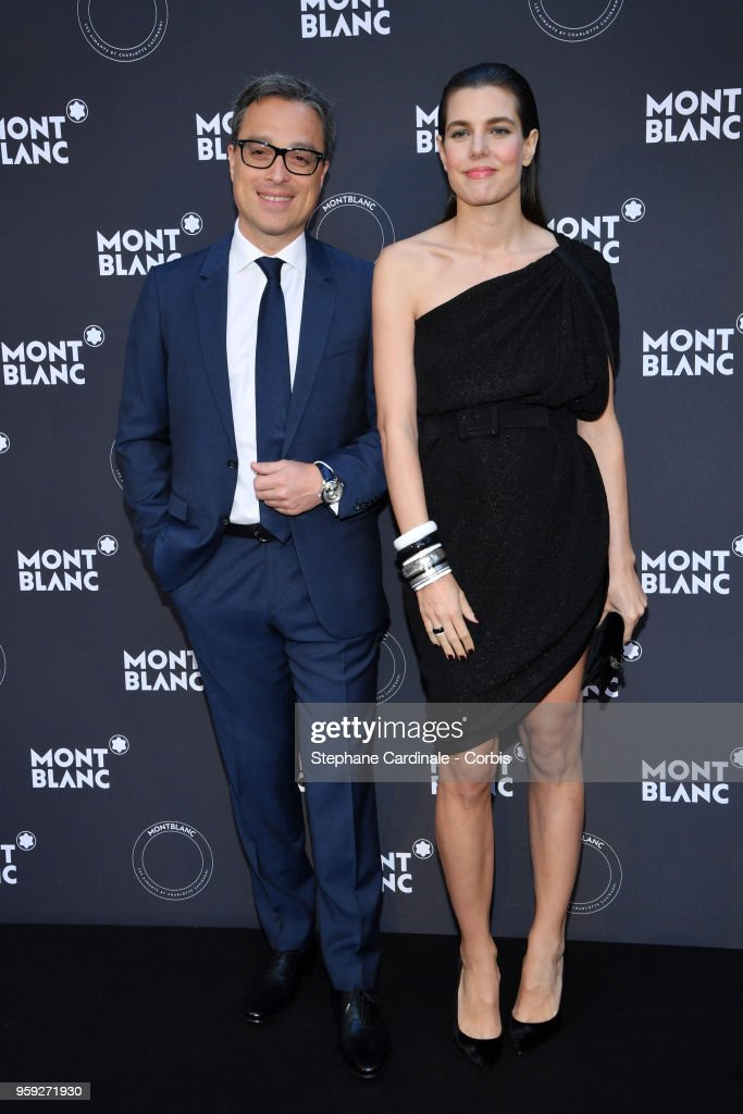 CEO of Montblanc Nicolas Baretzki and Charlotte Casiraghi attend as Montblanc launch new collection and dinner hosted by Charlotte Casiraghi during the 71st annual Cannes Film Festival at Villa la Favorite on May 16, 2018 in Cannes, France.