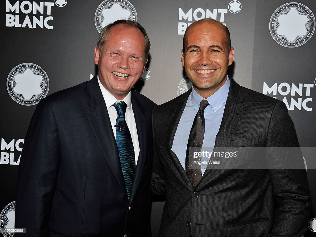 CEO of Montblanc North America Jan Patrick Schmitz and actor Billy Zane arrive at Montblanc's 2012 Montblanc de la Culture Arts Patronage Award Ceremony honoring Quincy Jones at Chateau Marmont on October 2, 2012 in Los Angeles, California.
