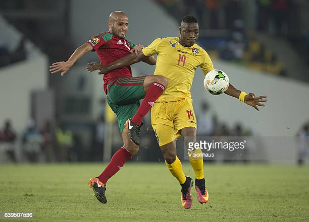 AROUSSI of Morocco and KODJO FODOH LABA of Togo during the Group C match between Morocco and Togo at Stade Oyem on January 20 2017 in Oyem Gabon
