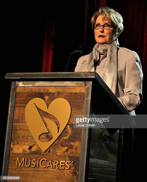 VP of MusiCares Dana Tomarken speaks onstage at the 25th anniversary MusiCares 2015 Person Of The Year Gala honoring Bob Dylan at the Los Angeles...