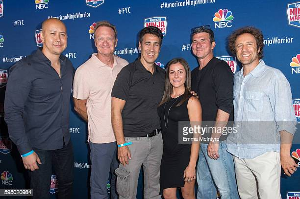 SVP of NBC Alternative Programming Brandon Riegg executive producers Kent Weed and Arthur Smith competitor Kacy Catanzaro executive producers Brain...
