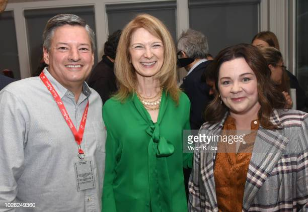 CCO of Netflix Ted Sarandos CEO of the Academy of Motion Picture Arts and Sciences Dawn Hudson and Melissa McCarthy attend the Telluride Film...