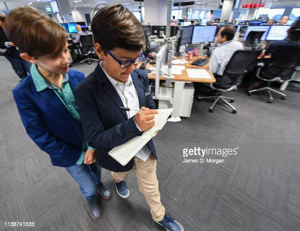 CEO of new airline Oceania Express Alex Jacquot takes notes with Deputy CEO Wolf Stringer as they tour Qantas HQ on March 27 2019 in Sydney Australia...