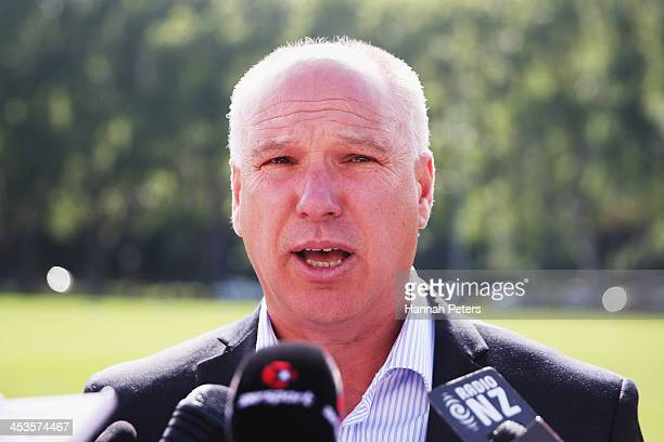 Of New Zealand Cricket David White reads a statement to the media at University Oval on December 5, 2013 in Dunedin, New Zealand.The International...
