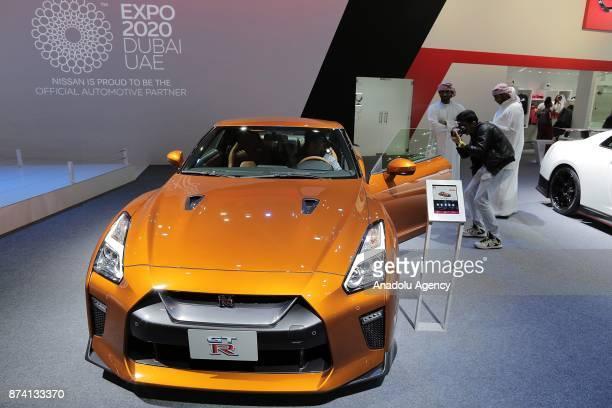 GTR of Nissan is displayed during Dubai International Motor Show 2017 at Dubai World Trade Centre in Dubai United Arab Emirates on November 14 2017