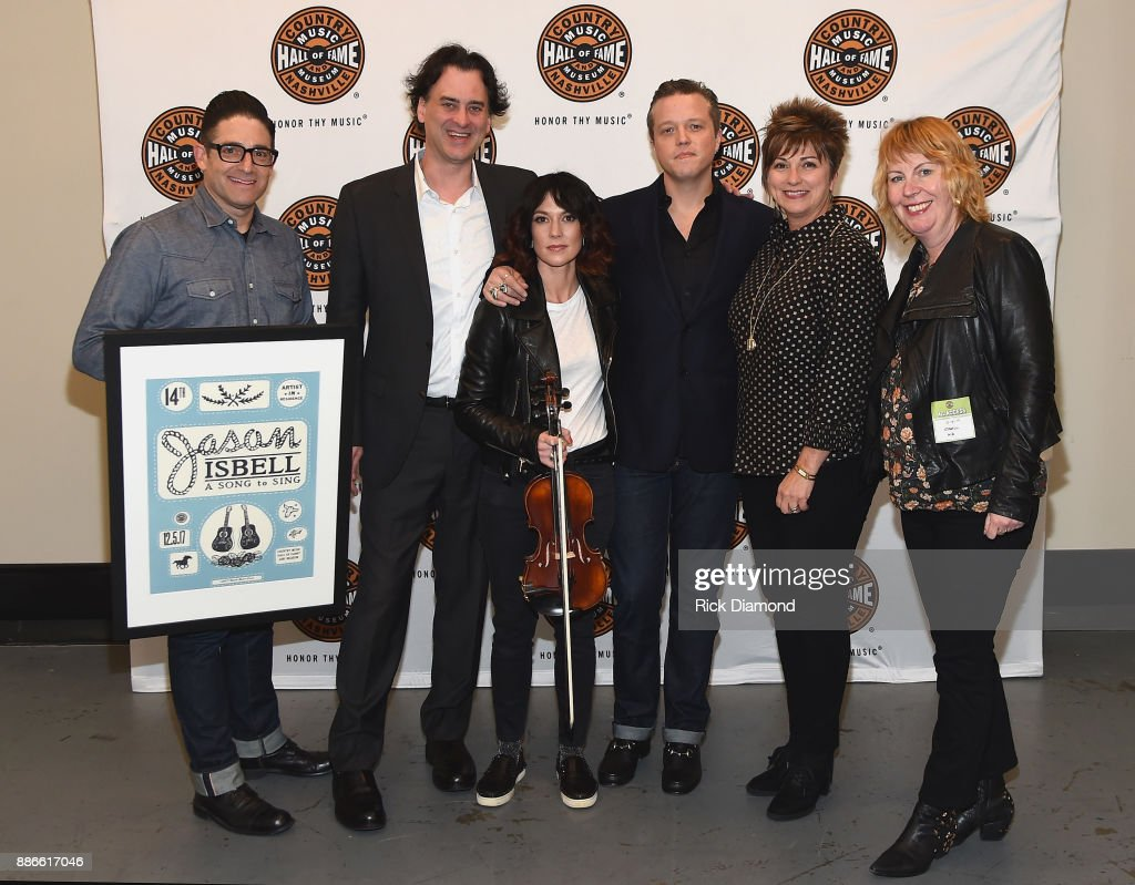CEO of NS2 Darin Lashinsky, Producer and Writer at The Country Music Hall of Fame and Museum Peter Cooper, Amanda Shires, Jason Isbell, Senior VP of Sales and Marketing at the Country Music Hall of Fame and Museum Sharon Brawner, and Jason Isbell's manager Traci Thomas attend the kick off of Jason Isbell's sold out residency at the Country Music Hall of Fame and Museum with Wife Amanda Shires on December 5, 2017 in Nashville, Tennessee.