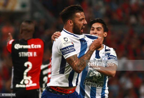 of Pachuca celebrates after scoring the tying goal during the 17th round match between Atlas and Pachuca as part of the Torneo Apertura 2017 Liga MX...