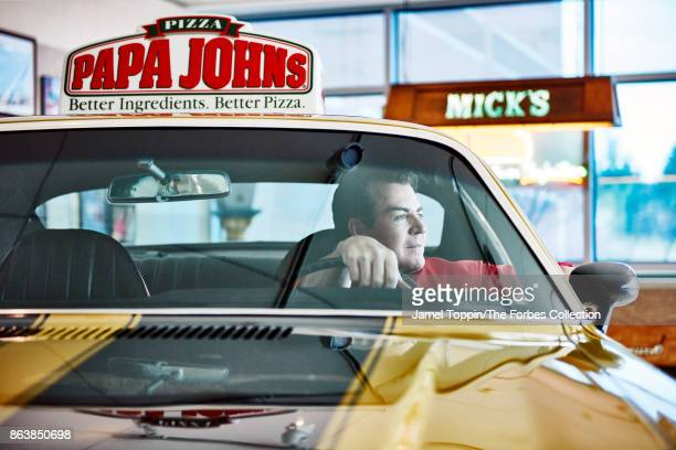 CEO of Papa John's Pizza John Schnatter is photographed for Forbes Magazine on January 26 2017 in Jeffersonville Indiana Schnatter sits in his 1971...