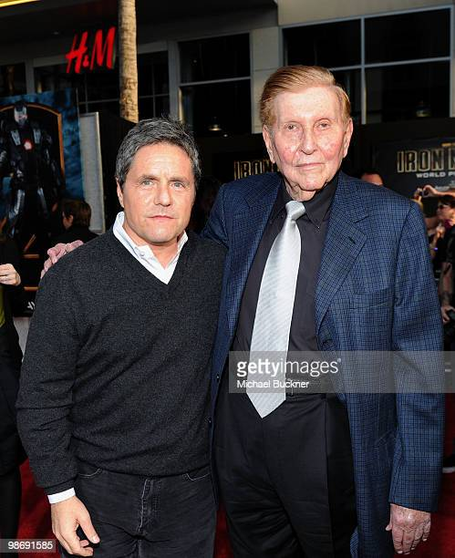 CEO of Paramount Pictures Brad Grey and Chairman of the Board and Viacom and CBS Corp Sumner Redstone arrive at the world wide premiere of Iron Man 2...