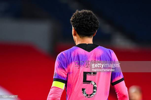 Of Paris Saint Germain wears a new jersey with his name write in chinese for the Chinese new year during the French Ligue 1 soccer match between...