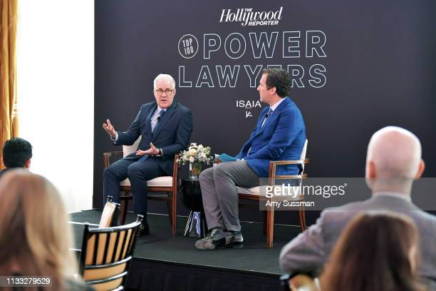 CEO of Participant Media David Linde and Editorial Director at The Hollywood Reporter Matthew Belloni speak onstage at The Hollywood Reporter Power...