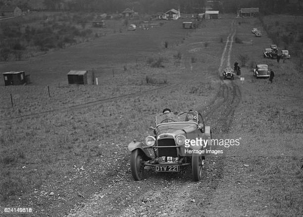 HRG of PC Clark competing in the London Motor Club Coventry Cup Trial Knatts Hill Kent 1938 Artist Bill BrunellHRG 1496 cc Vehicle Reg No DYV221...